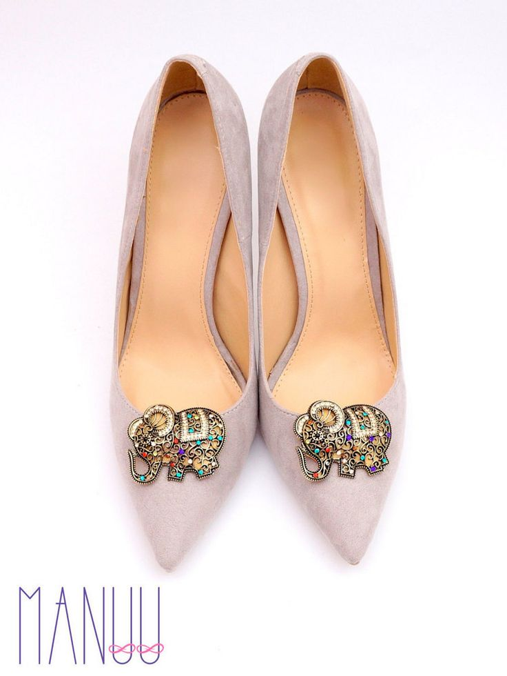 Antic gold shoe clips with colorful zircons shoe by ManuuDesigns