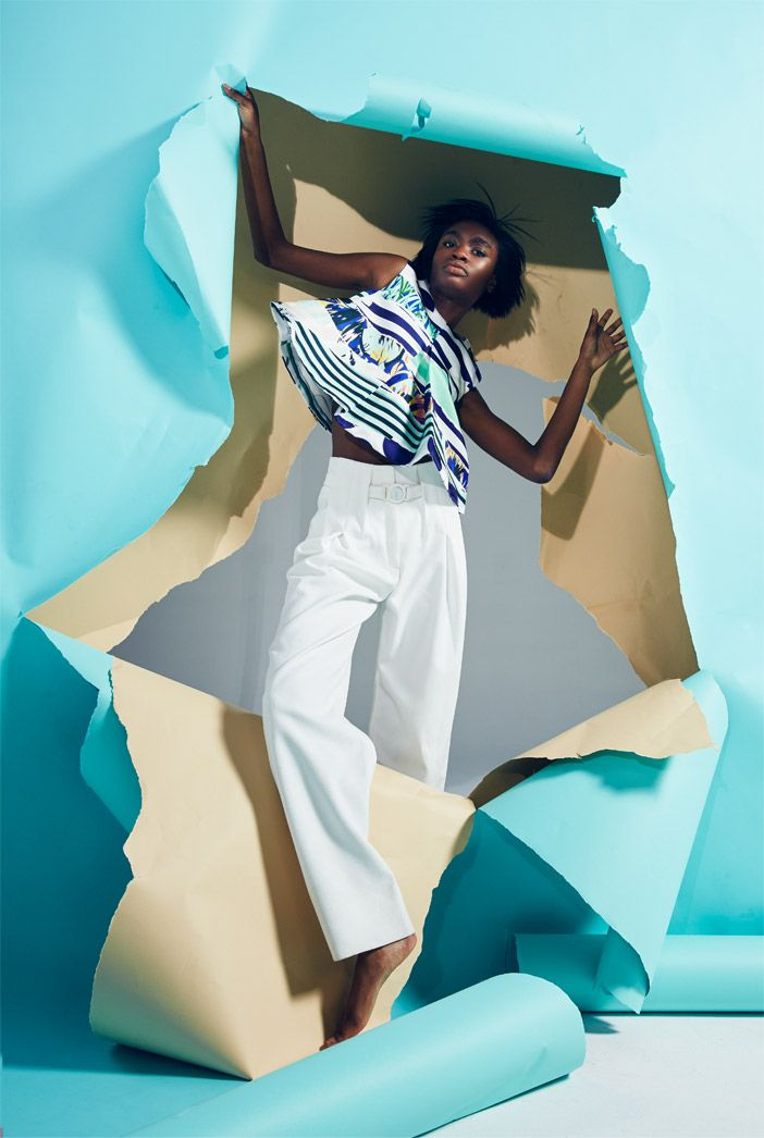 "Kayla Clarke by Charlie Engman for Kenzo's ""Torn Paper"" campaign. Styled by Clare Byrne. Hair by Tamas Tuzes. Makeup by Kanako Takase. #fashion #adcampaign #modelsofcolor"