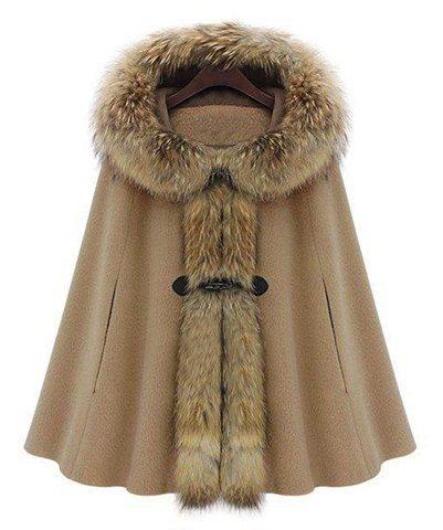 Honorable Faux Fur Embellished Horn Button Design Hooded Sleeveless Cloak Coat For Women, CAMEL, M in Jackets & Coats | DressLily.com