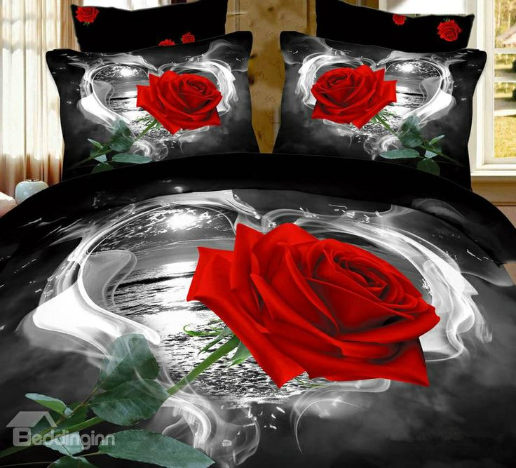 Awesome 3d Comforters Part - 9: New Arrival High Quality Wild Black And White Rose 4 Piece Bedding Sets/ Comforter Sets