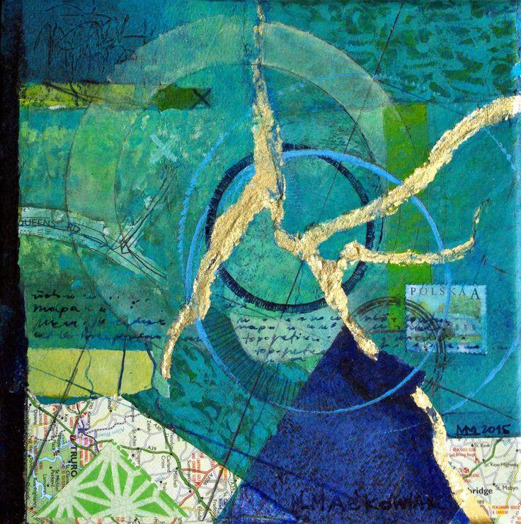 Malgorzata Mackowiak, Paper kintsugi, acrylic on canvas, 20x20cm, 2015