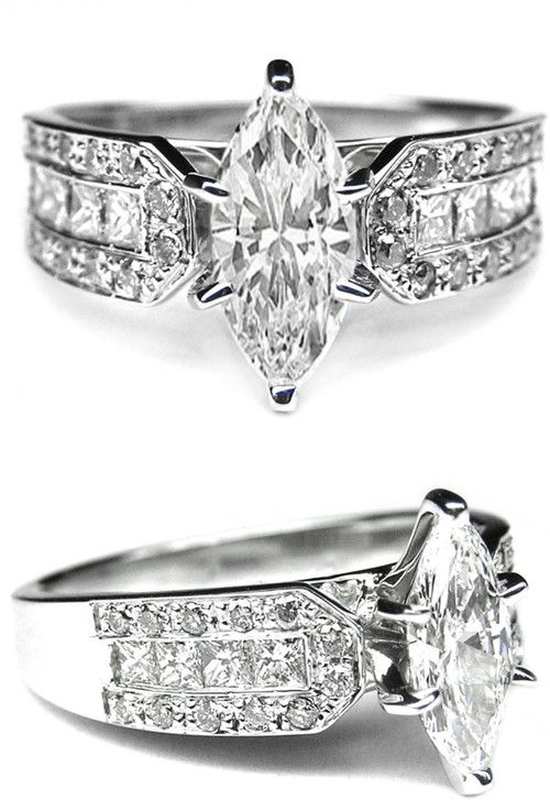 Marquise Diamond Vintage Engagement Ring