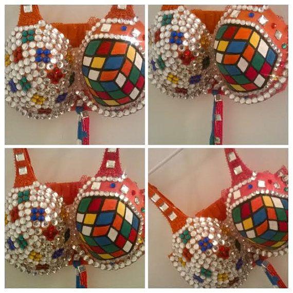 Rubic Cube Rhinestone rave bra Revised for 2015 by Smokinghotdivas