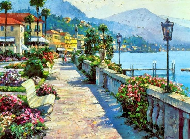 Mediterranean Seascape ~ Howard Behrens, Impressionism with spatula