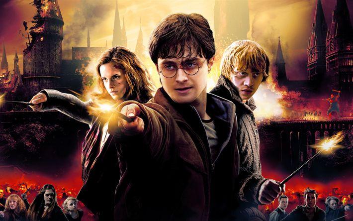 Hämta bilder 4k, Harry Potter och Dödsrelikerna, fantasy, Daniel Radcliffe, Emma Watson, Hermione Granger