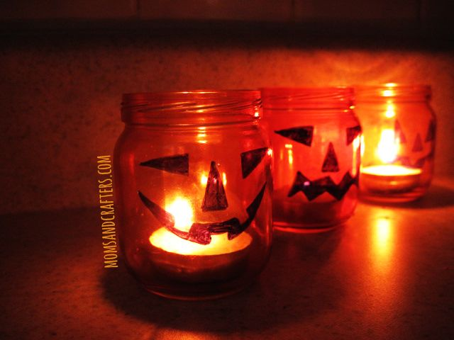 DIY Jack O Lantern Tea Light Holders - Moms and Crafters