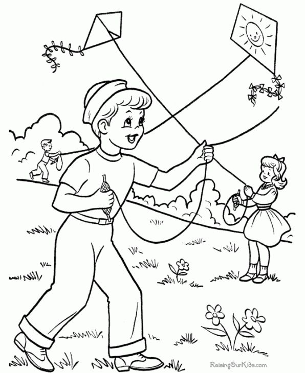 Playing Kite In Spring Coloring Page For Kids Free