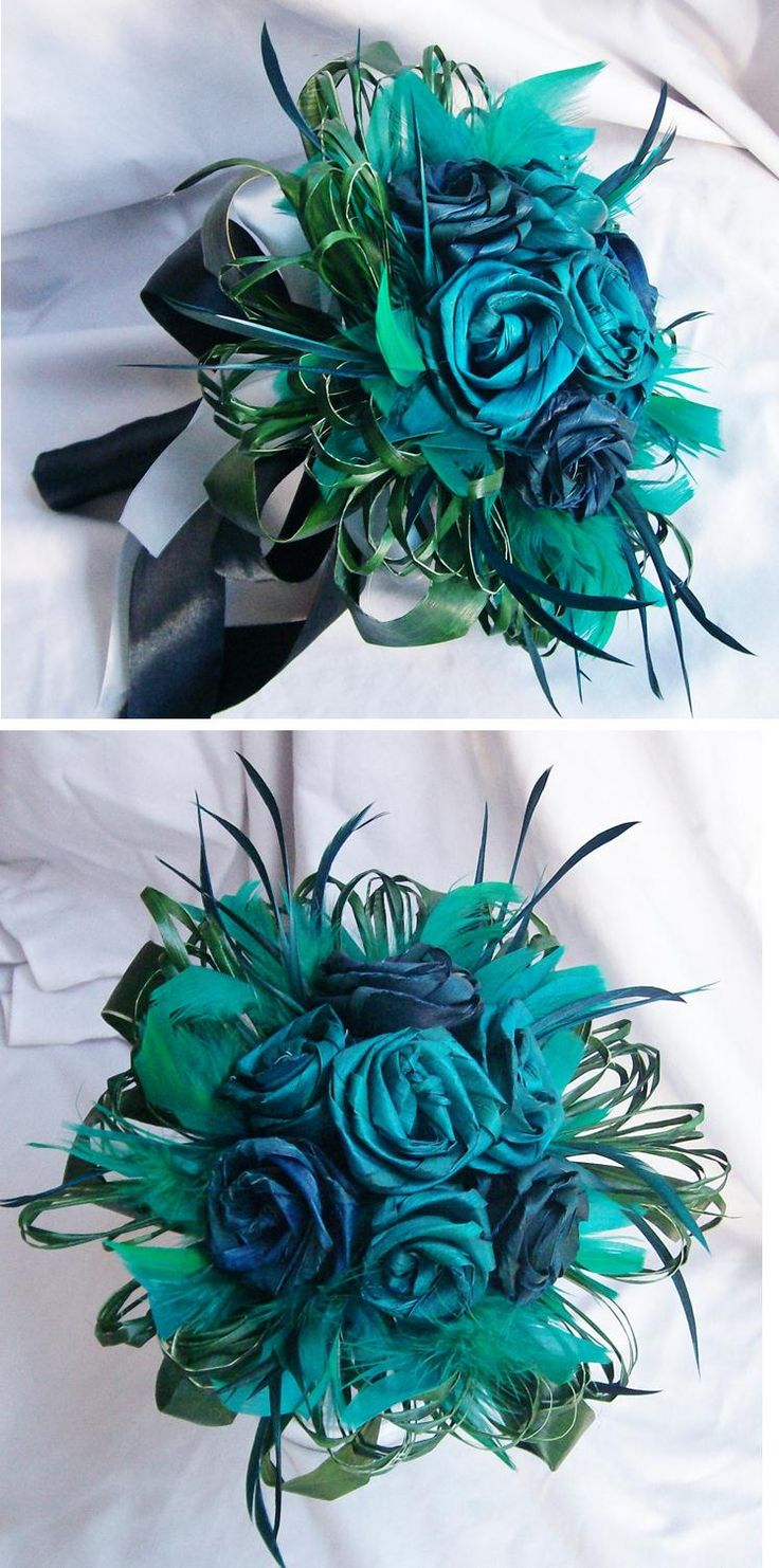 Turquoise, blue and feather flax wedding bouquet