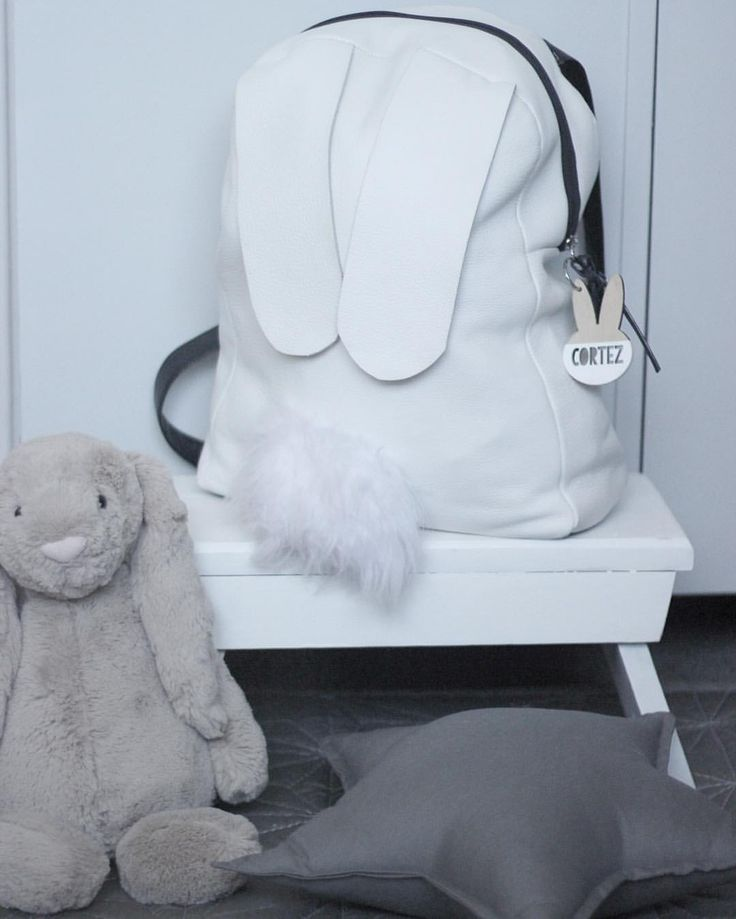 DIY leather bunny backpack with fluffy pompom tail  See this Instagram photo by @fromlondontobrooklyn • 44 likes