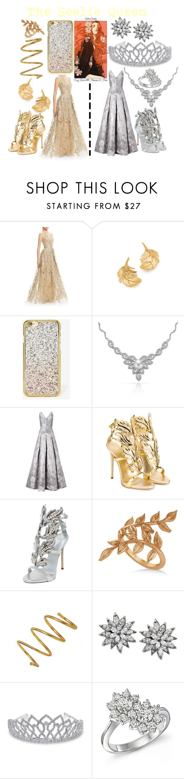 """The Seelie Queen"" by aquatic-angel ❤ liked on Polyvore featuring Theia, Alex Monroe, Skinnydip, Bling Jewelry, Aidan Mattox, Giuseppe Zanotti, Allurez, Chanel, Nina and Bloomingdale's"