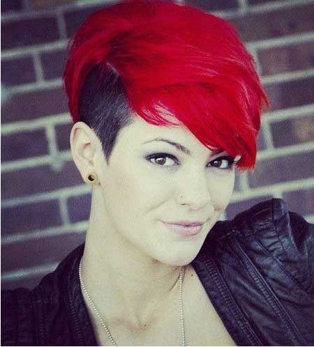 Short Red Colored Undercut Haiarstyle with Side Bangs
