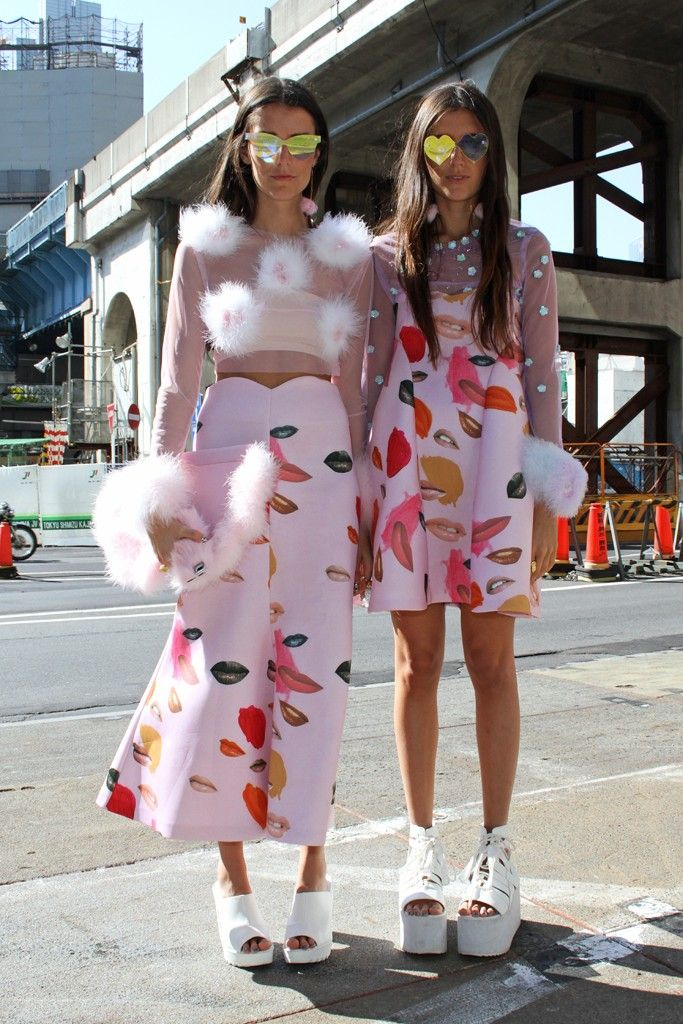 Street Style Friends. The most innovative fashionista duo seen at SS15 Tokyo Fashion Week