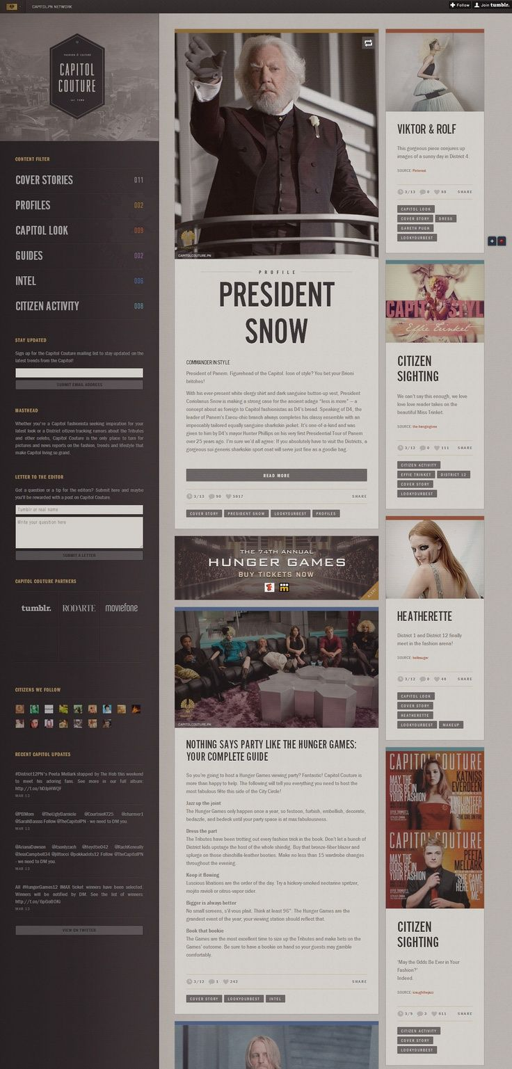 Hunger Games Website Layout - I love how everything is laid out nicely.
