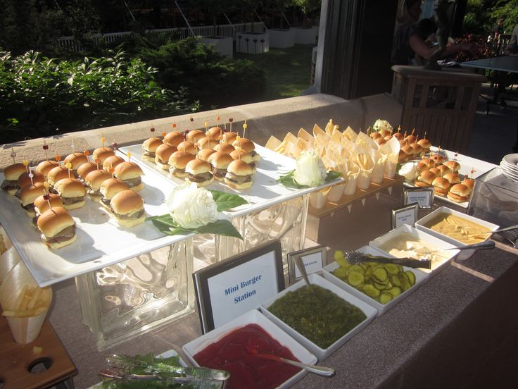 Capers catering slider station with french fry cones for Food bar catering