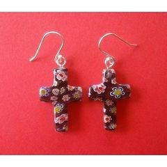Murano Millefiori Cross Earrings - Lilac for R45.00