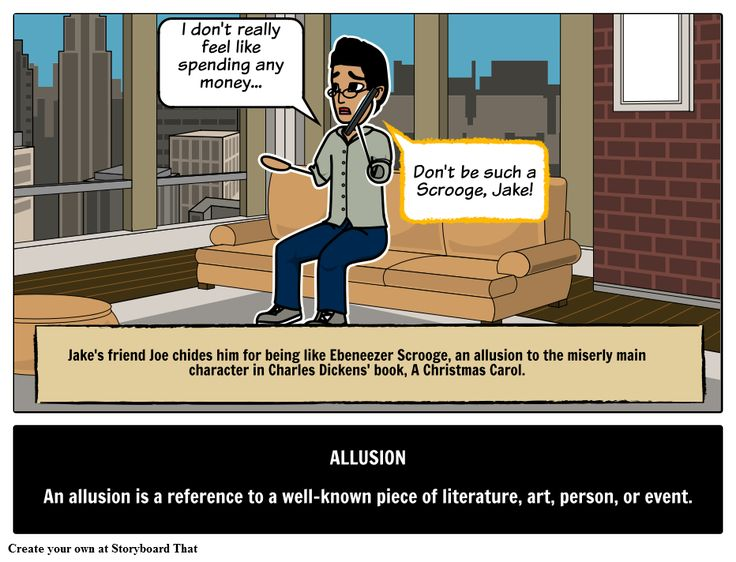 Define allusion with picture storyboards. Find allusion definition, examples in a sentence, meaning in this literary term & techniques with examples in literature