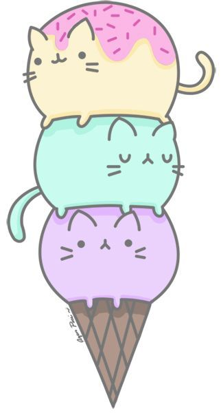 Bolas de helado. Primer intento de dibujo con vectores. | Illustration | Pinterest | Ice, Pusheen and Cats