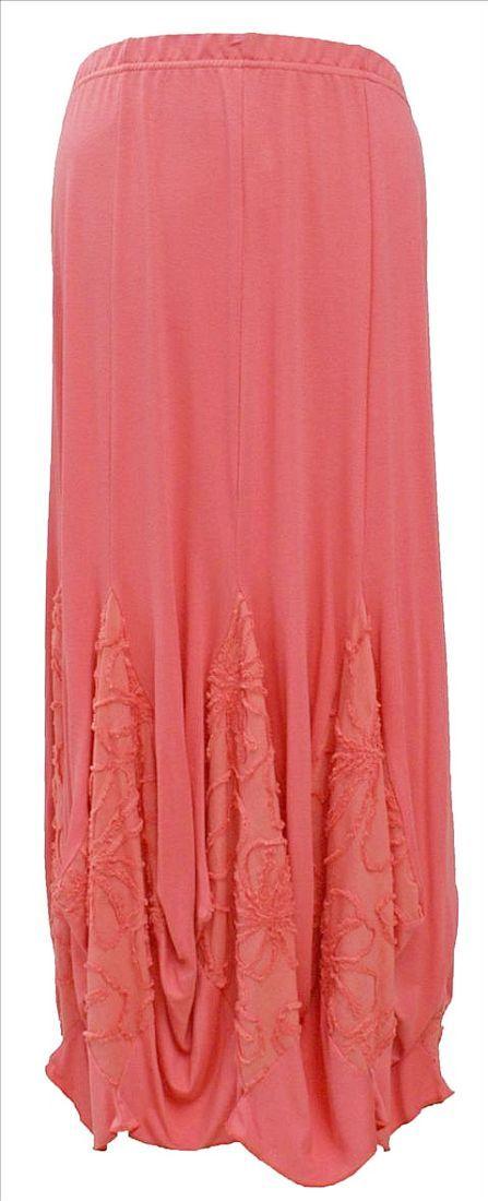 AKH Fashion Lagenlook Maxi Rock in coralle XXL Mode bei www.modeolymp.lafeo.de
