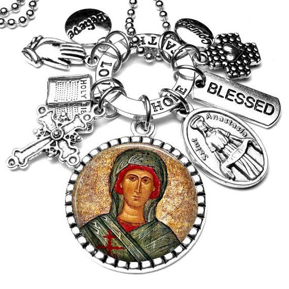 St. Anastasia Picture Pendant & Multi Charm Necklace Catholic