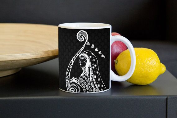 Rajasthani Bride (Black&White) - Mggk Signature Ink Art Mug #mugs #coffeemugs #holiday #christmas #gifts #handmade #zentangle #lineart #inkart #indiaart #cups #designer #monochrome #buynow #uniquegifts