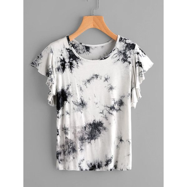 SheIn(sheinside) Tie Dye Frill Cuff Tee ($10) ❤ liked on Polyvore featuring tops, t-shirts, grey, embellished t shirts, tie dye t shirts, flutter sleeve top, short sleeve tee and grey t shirt