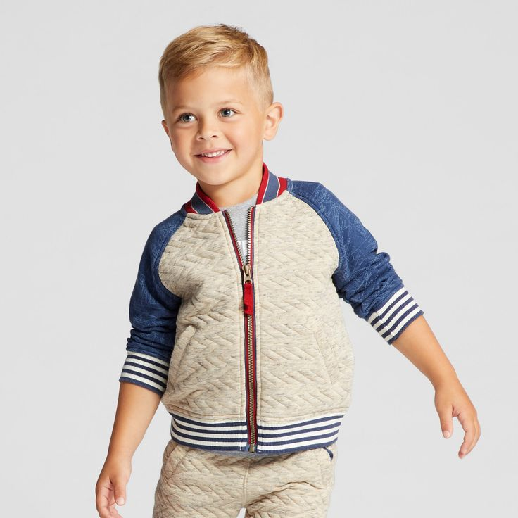 Toddler Boys' Bomber Jacket - Genuine Kids from OshKosh Oatmeal 12M, Size: 12 Months, Gray