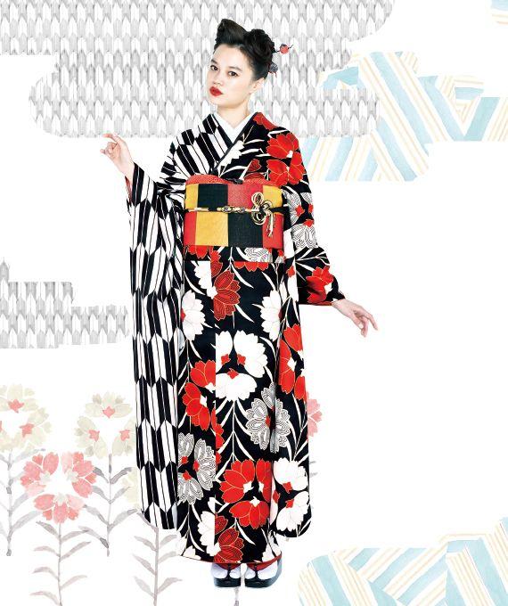 "Japanese traditional fashion ""Kimono""振袖コレクション(矢羽根)"