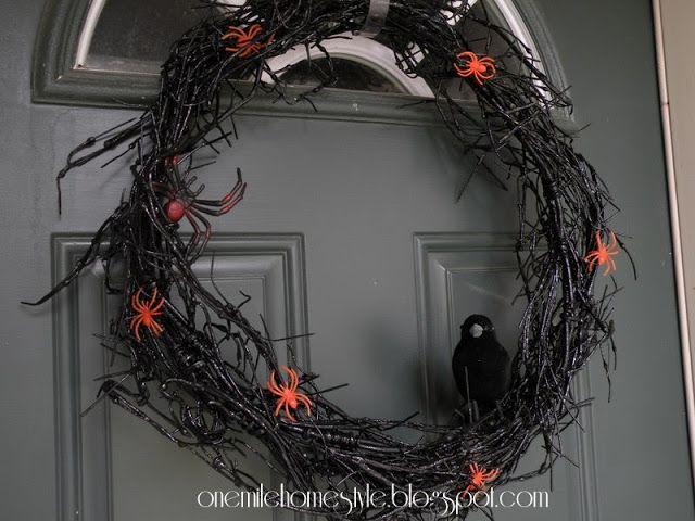 Coroa de flores Dia das Bruxas assustador DIY    Uma Milha Home Style