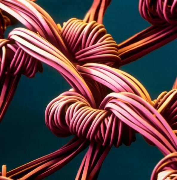 Amazing Scanning Electron Microscope pictures.  This one is of the nylon fibers in pantyhose!