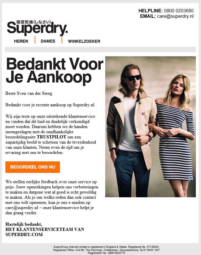Superdry - klanttevredenheidsonderzoek na een aankoop.