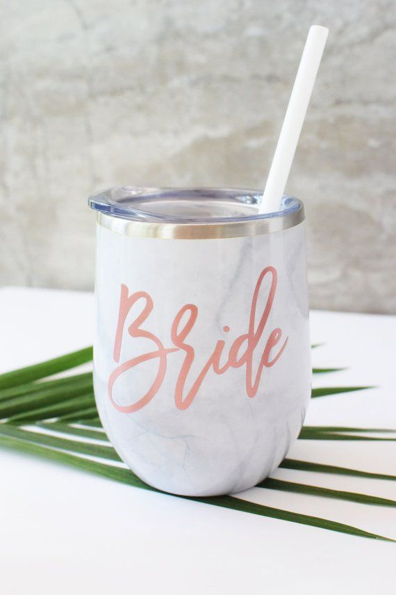 Bride Tumbler Bridesmaids Tumbler Bridal Party Gift Wedding Party Gift Gold Marble Stainless Steel Tumbler with Stainless Steel Straw