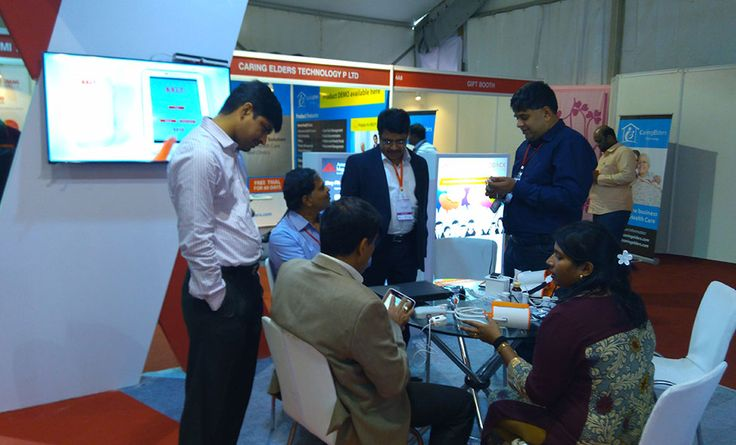 AMI Director & CEO Mr. Sridhara Mani with AMI team at Medicall Healthcare IT pavilion in Stall no: 4B3, 4B4 Chennai Trade Center