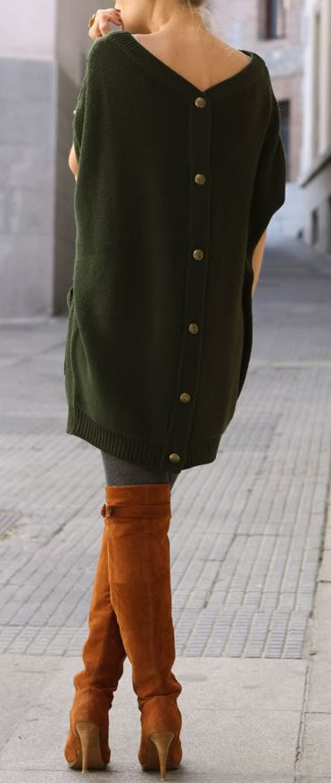 We love this oversized sweater trend. Pair it with over the knee boots for a super cozy fall look.