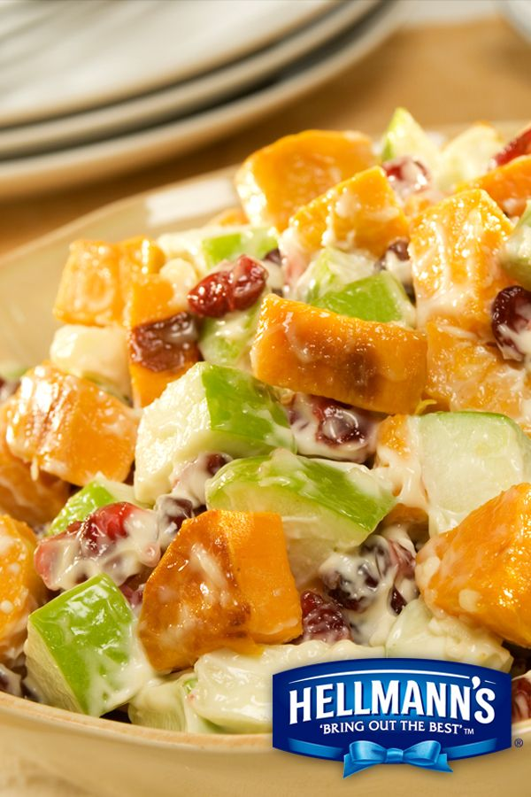 Roasted Sweet Potato Salad using Hellmann's Mayonnaise Dressing with Olive Oil.