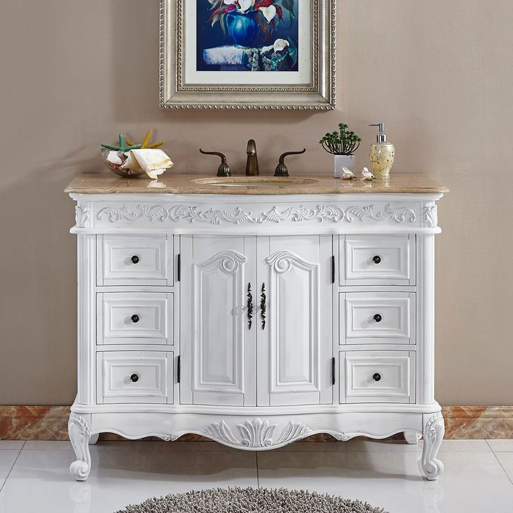 Silkroad Exclusive Upland Bathroom Single Sink Vanity (Ivory - Off-White (Beige) Finish), Size Single Vanities