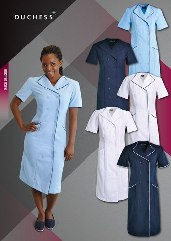 The RINA medical dress has a relaxed fit that is perfect for nurse uniforms.A conservative below-knee length, piping detail and gathered shoulders with loops and buttons for epaulette fitment creates an ideal nurse uniform.    •Mechanical stretch mini matt - 100% polyester •Side pockets with piping detail •Overlap button-up style •Relaxed fit and long length •High quality mechanical stretch mini matt with wash & wear properties • Ladies dress sizes: 28 - 30 - 32 - 34 - 36 -38 - 40…