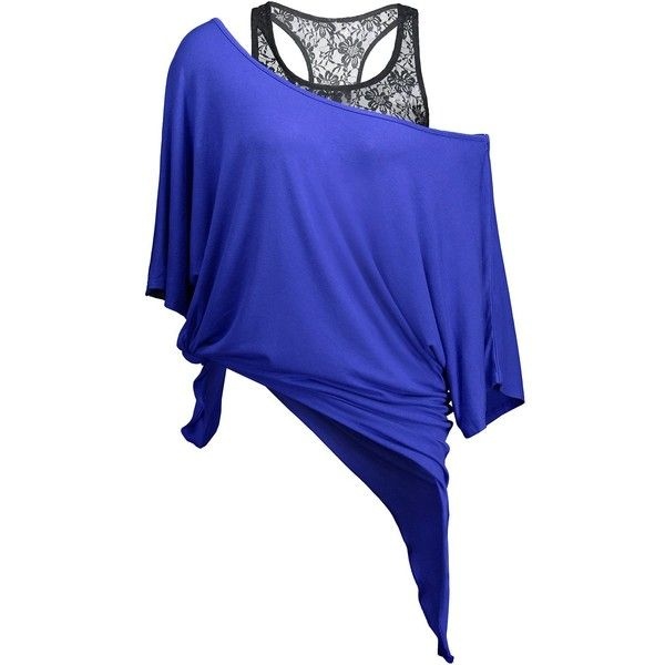 Handkerchief Batwing T Shirt with Lace Tank Top (115 DKK) ❤ liked on Polyvore featuring tops, blue top, batwing tops, lace batwing top, blue lace top and blue tank