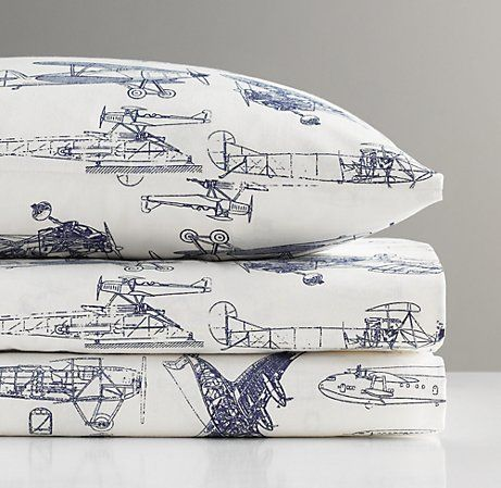 European Vintage Airplane Blueprint Crib Fitted Sheet | Nursery Sheeting | Restoration Hardware Baby & Child
