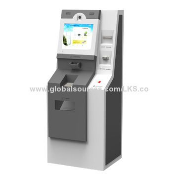 Self service bank kiosk ATM machines with A4 printer and 17-inch touch screen