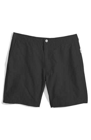 "Onia 'Calder' Swim Trunks (Men) in Black, at Nordstrom. Inner drawstring, 8"" inseam. #36244 $130"