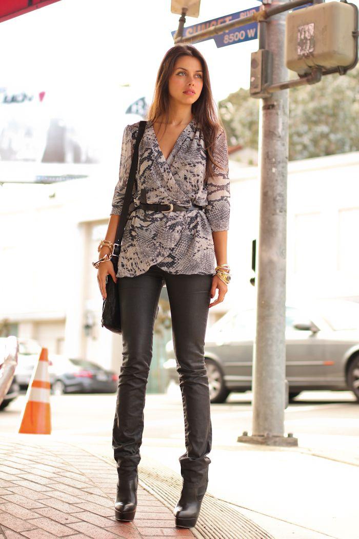 animal print blouse with pants