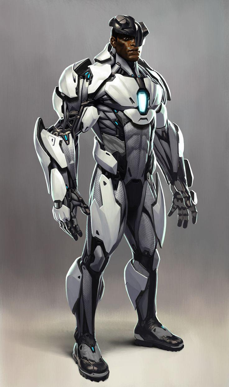 Cyborg concept for Injustice 2, Joseph Meehan on ArtStation at https://www.artstation.com/artwork/2QkEA