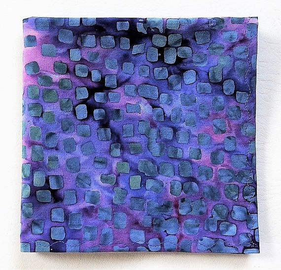 BatikStudio hankies are an eco friendly essential and great gift idea. They are the perfect POP of color in a blouse, shirt or jacket pocket. They are 100% cotton so you can toss them in the washer and dryer - they will last forever!! This is a 12 pocket square or handkerchief in a Batik Textiles batik. The edges are double rolled and machine stitched in an s pattern. Machine wash, light pressing recommended. It is packaged in a BatikStudio band/label.  FREE SHIPPING ON ANY ADDITIONAL ha...