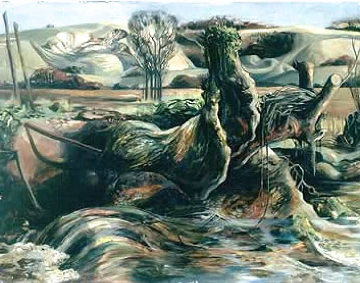 Winter Stream - This work dates from Michael Ayrton's Neo-Romantic period. Neo-Romantic was used to describe the art of John Minton, Graham Sutherland and John Piper during the 1940s. They had developed a mystical approach to painting the British landscape. These artists often included sharp, thrusting forms in the foregrounds of their landscapes.