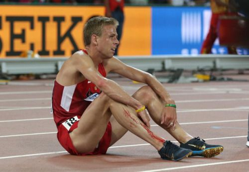 "athleticsworldchampionships:  ""Galen Rupp (United States) recovering from his 5th place finish in Mens' 5000m at the IAAF World Championships in Track and Field.  ""  Rupp Nike Spikes at World"