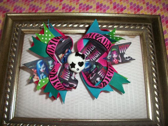 Monster High Hair Bow - Handmade Boutique Style Girls Stacked Hair Bow - Skull via Etsy