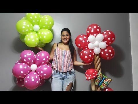 como hacer una flor con globos paso a paso/ flowers balloons flores aereas - YouTube