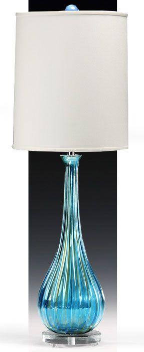 blue Venetian glass table lamp; Italian Murano glass lamps
