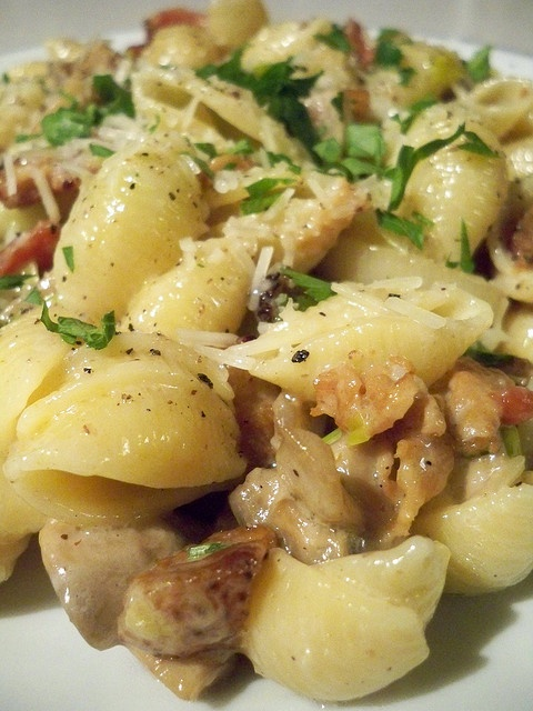 Pasta with Pancetta, Leek and Mushrooms...Gordon Ramsey recipe