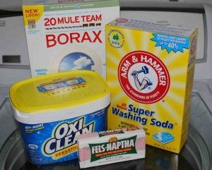 Homemade Laundry Detergent Ingredients: 1 cup Borax 1 cup Super Washing Soda 1 bar Fels Naptha soap ¼ cup Oxi Clean (optional)